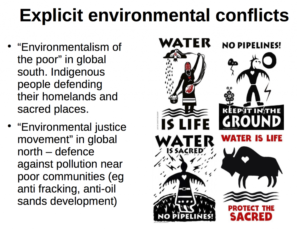 "Environmentalism of Poor and Environmental Justice http://www.ejolt.org/ and https://ejatlas.org/ Martinez Alier, et al ""Trends in Social Metabolism and Environmental Conflict- a comparison between India and Latin America"" chapter 9 in Gareth Dale et al (ed) ""Green Growth"" Zed Books 2016."