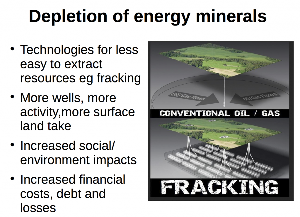 Depletion of Energy Minerals and Fracking – See my presentation to the Degrowth Conference, Budapest, September 2016 https://scriptum.degrowth.net/system/event_attachments/attachments/000/000/113/original/DegrowthandFrac king.pdf?1472027087