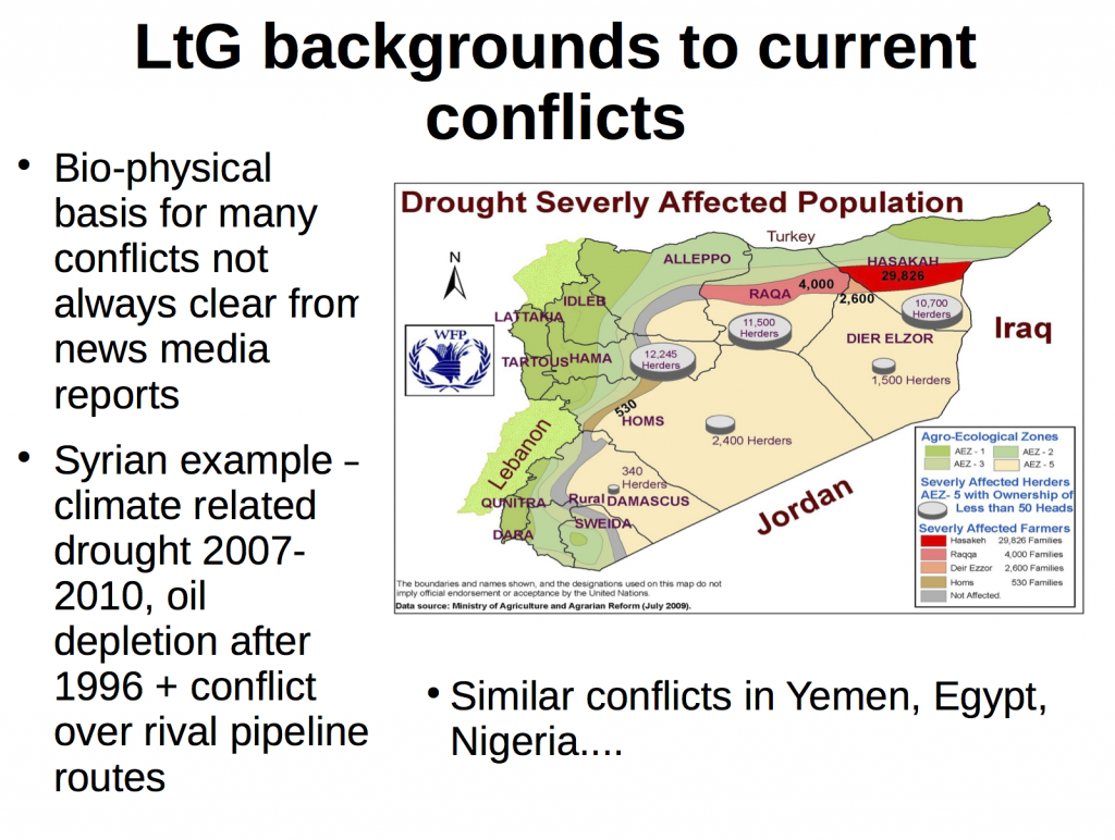 """LtG Background to Current Conflicts Nafeez Mosaddeq Ahmed """"Failing States, Collapsing Systems. Biophysical Triggers of Political Violence"""" Springer Briefs in Energy, 2017 pp 49-52"""
